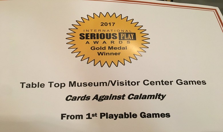 Cards Against Calamity wins Gold at 2017 Serious Play Conference